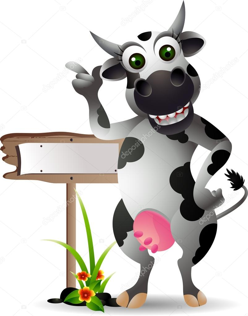 cute cow cartoon with blank board u2014 stock vector starlight789