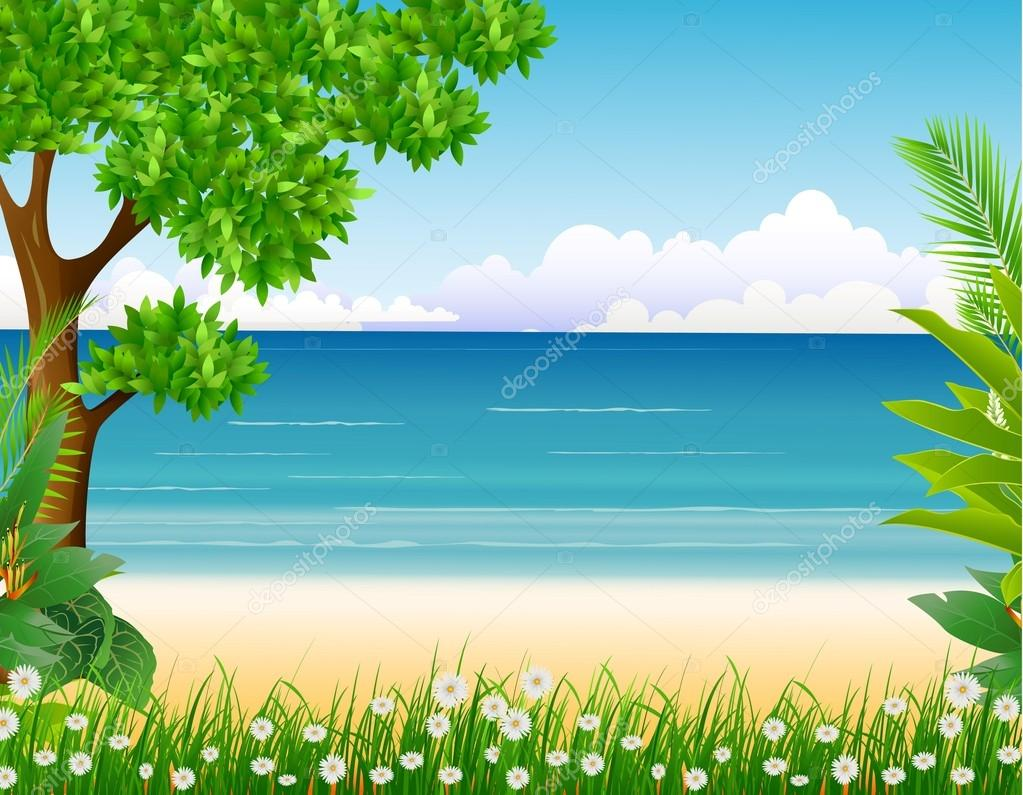 Beauty tropical forest with beach background
