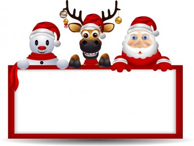 Santa claus ,deer and snowman with blank sign