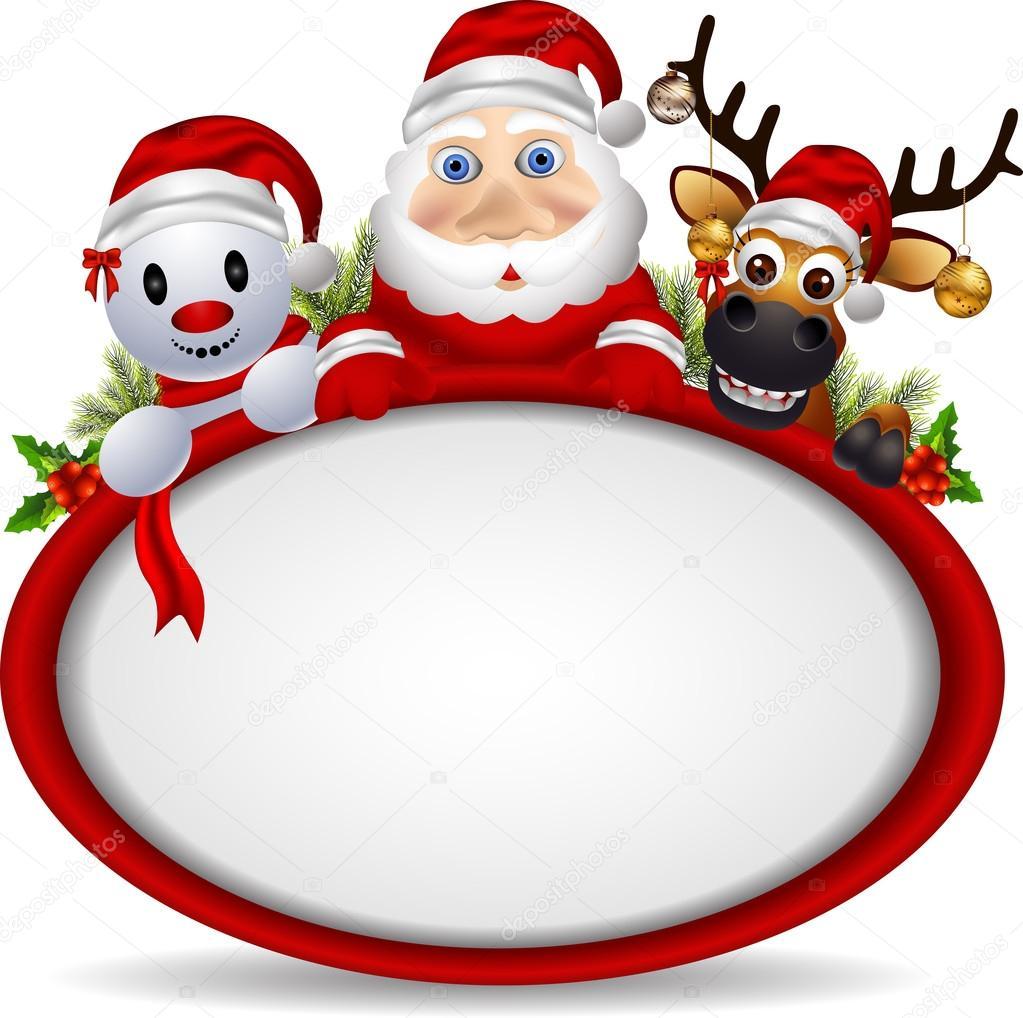 cartoon santa claus deer and snowman with blank sign stock vector - Snowman Santa
