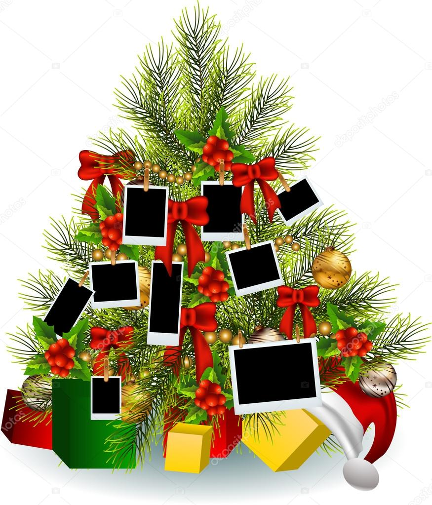 Decoration of christmas tree with frame photo