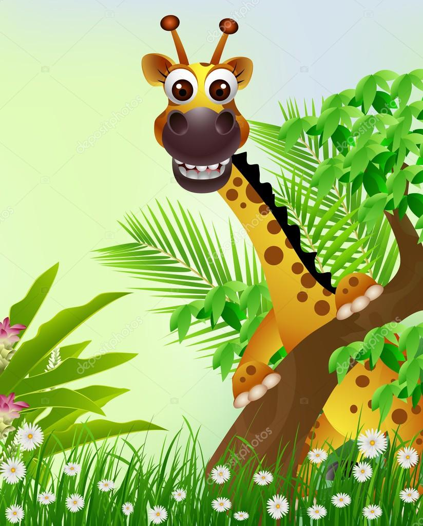 Cute giraffe cartoon smiling with tropical forest background