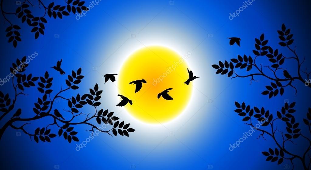 Silhouette d 39 arbre avec l 39 oiseau qui vole image vectorielle starlight789 14706783 - Jeux d oiseau qui vole ...