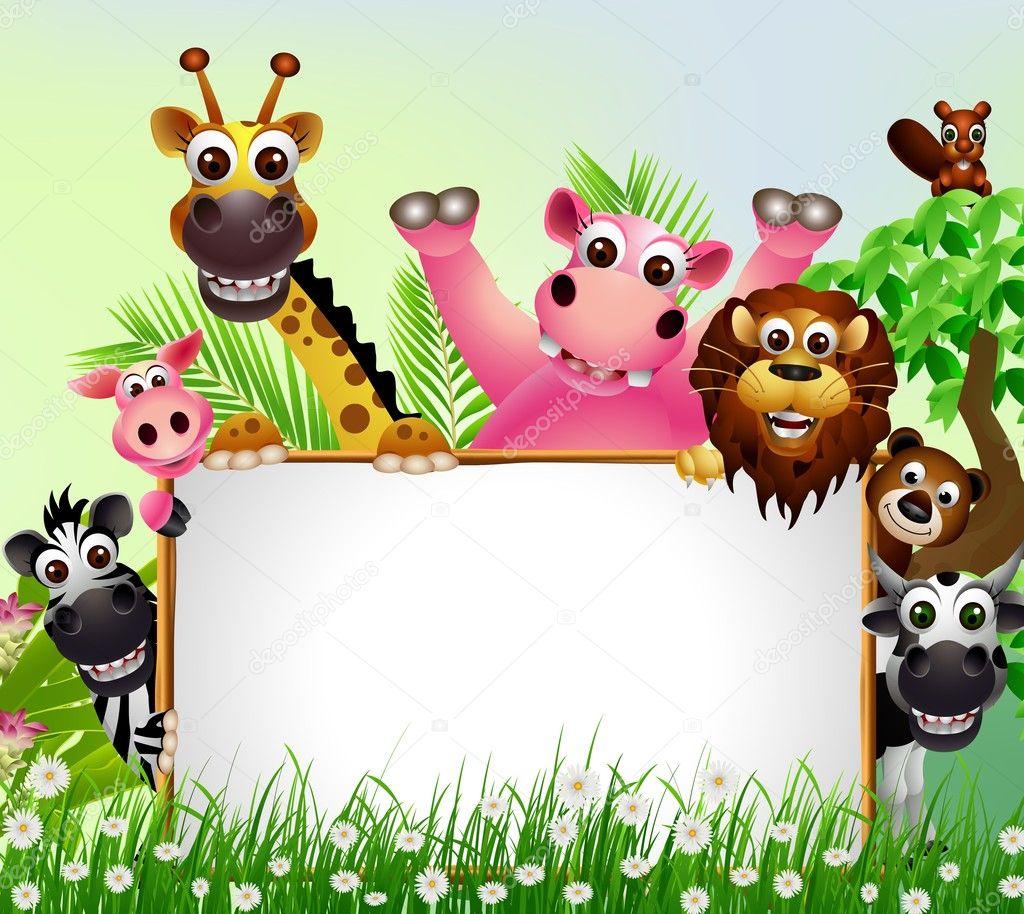 Funny animal cartoon set with blank sign