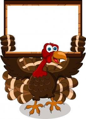 Happy turkey cartoon with blank board