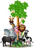 Fotografie Various funny cartoon safari animal