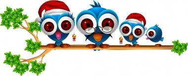 Cute chritsmas blue birds family