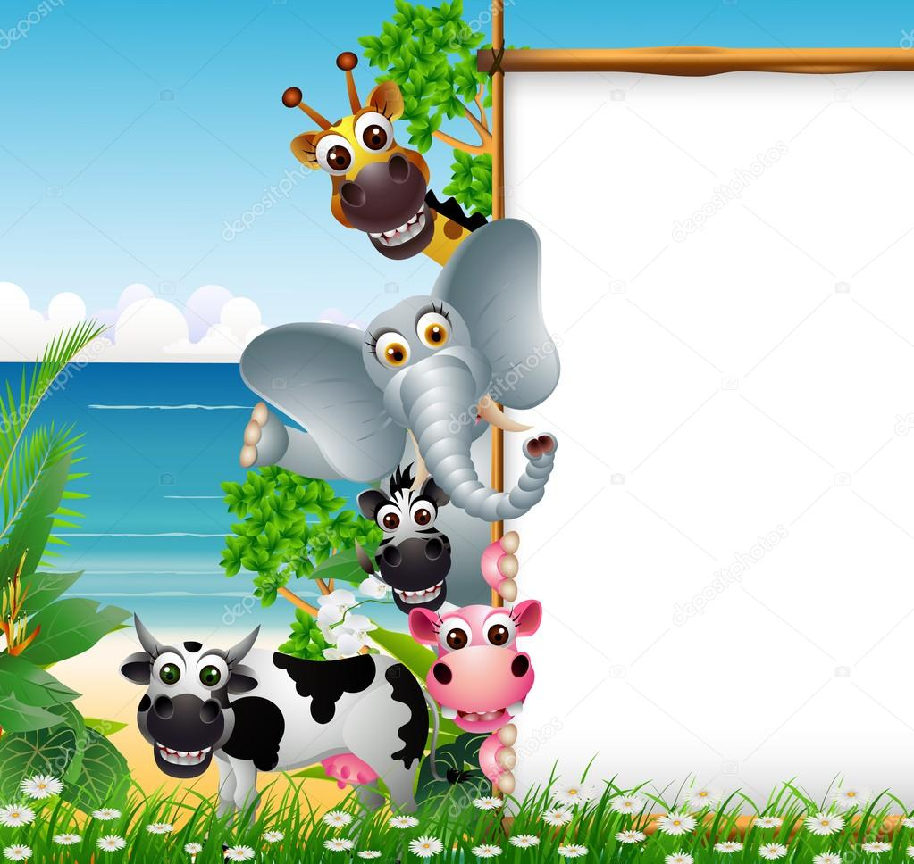 Wild African animal cartoon with blank sign and beach background