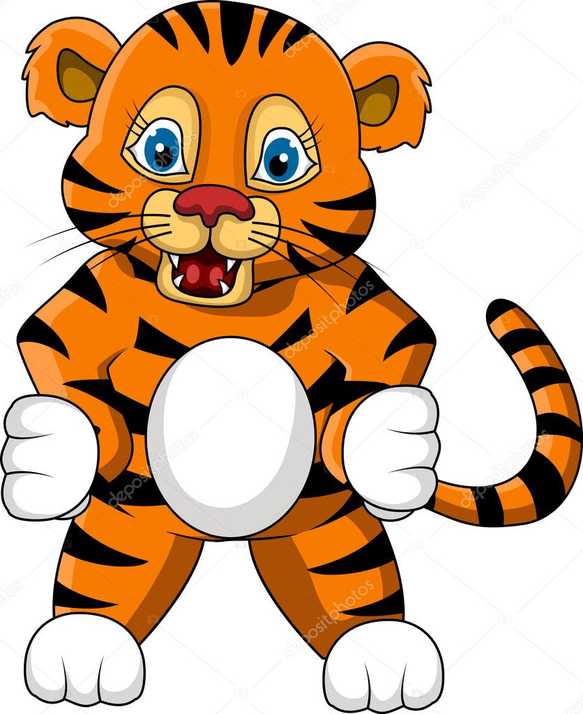cute young tiger cartoon expression u2014 stock vector starlight789