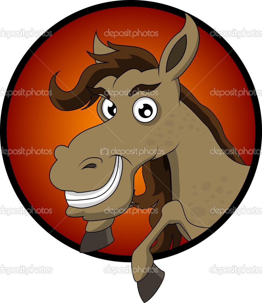 Cartone animato testa di cavallo carino — vettoriali stock