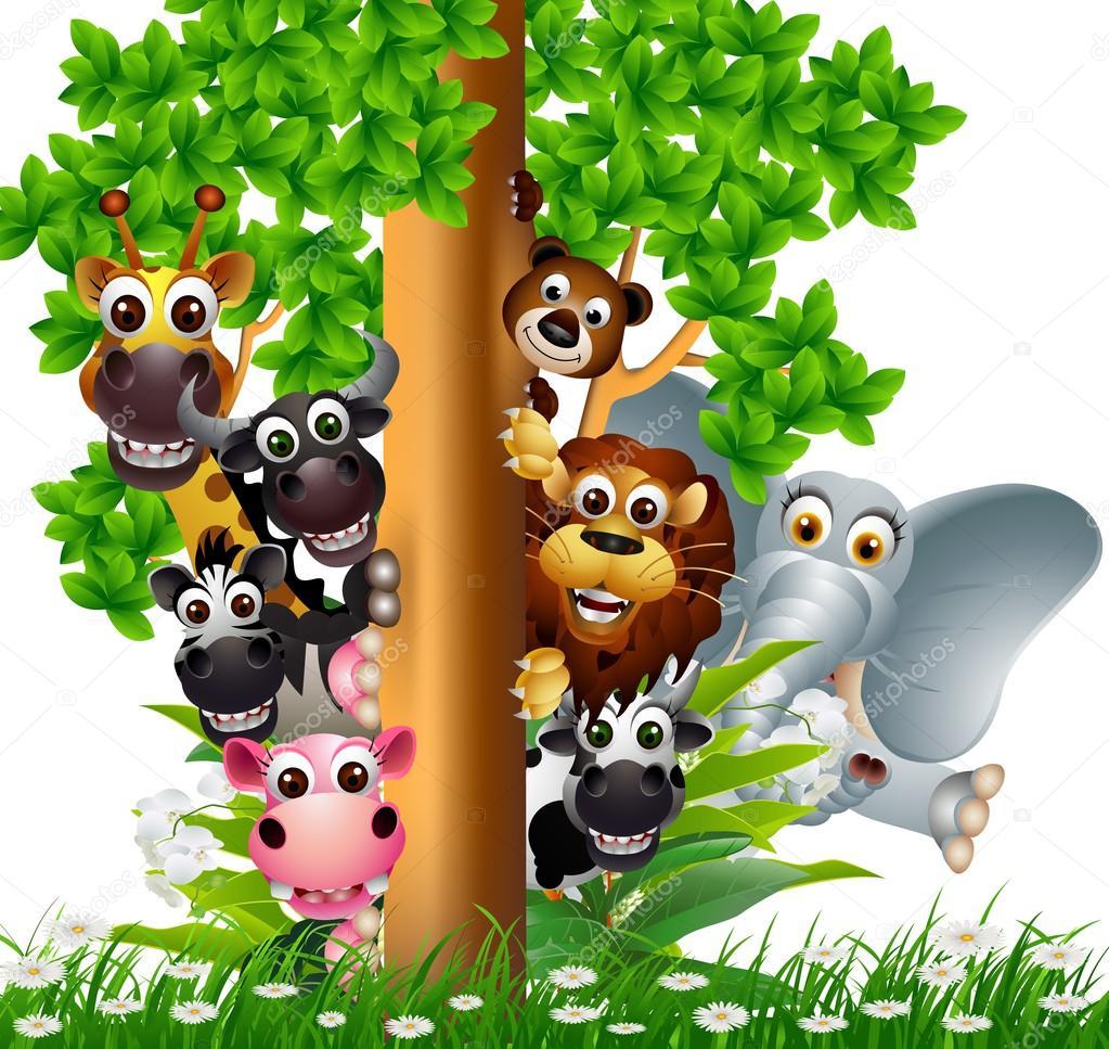 Coleção de animais selvagens bonitos dos desenhos