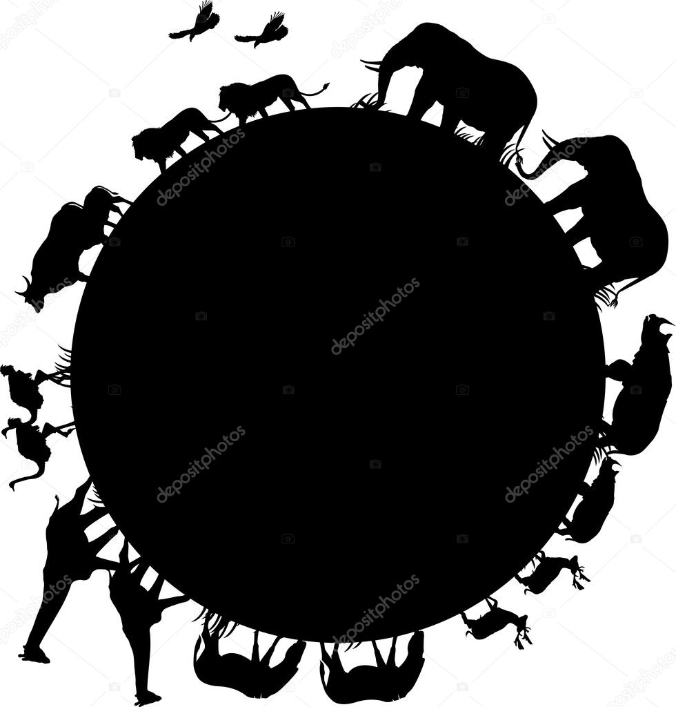 animal silhouette and world