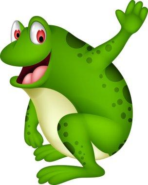 cute frog cartoon smiling