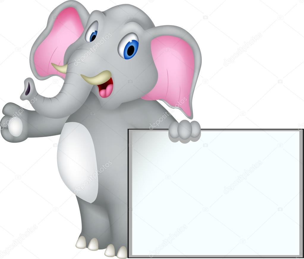 cute elephant cartoon with blank sign u2014 stock vector