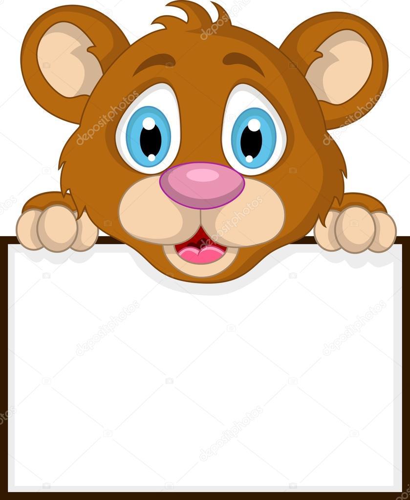 bonito desenho urso marrom com sinal em branco vetor de stock