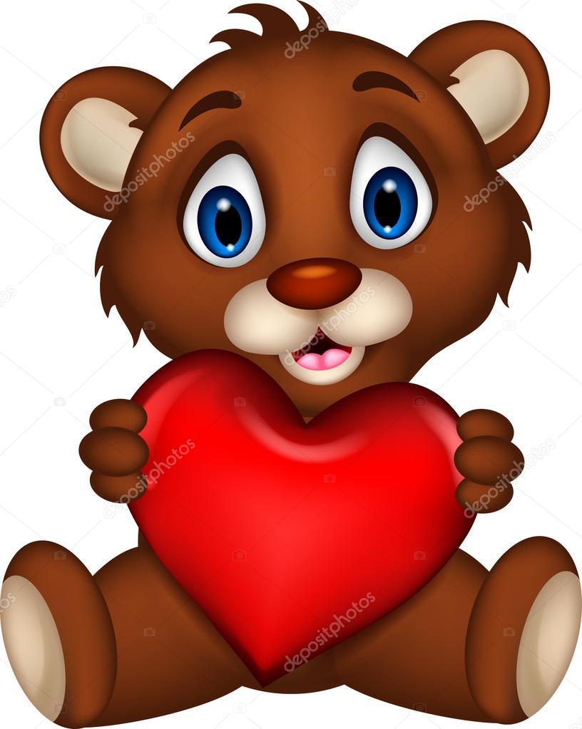 Desenho animado de urso pardo bebê fofo posando com