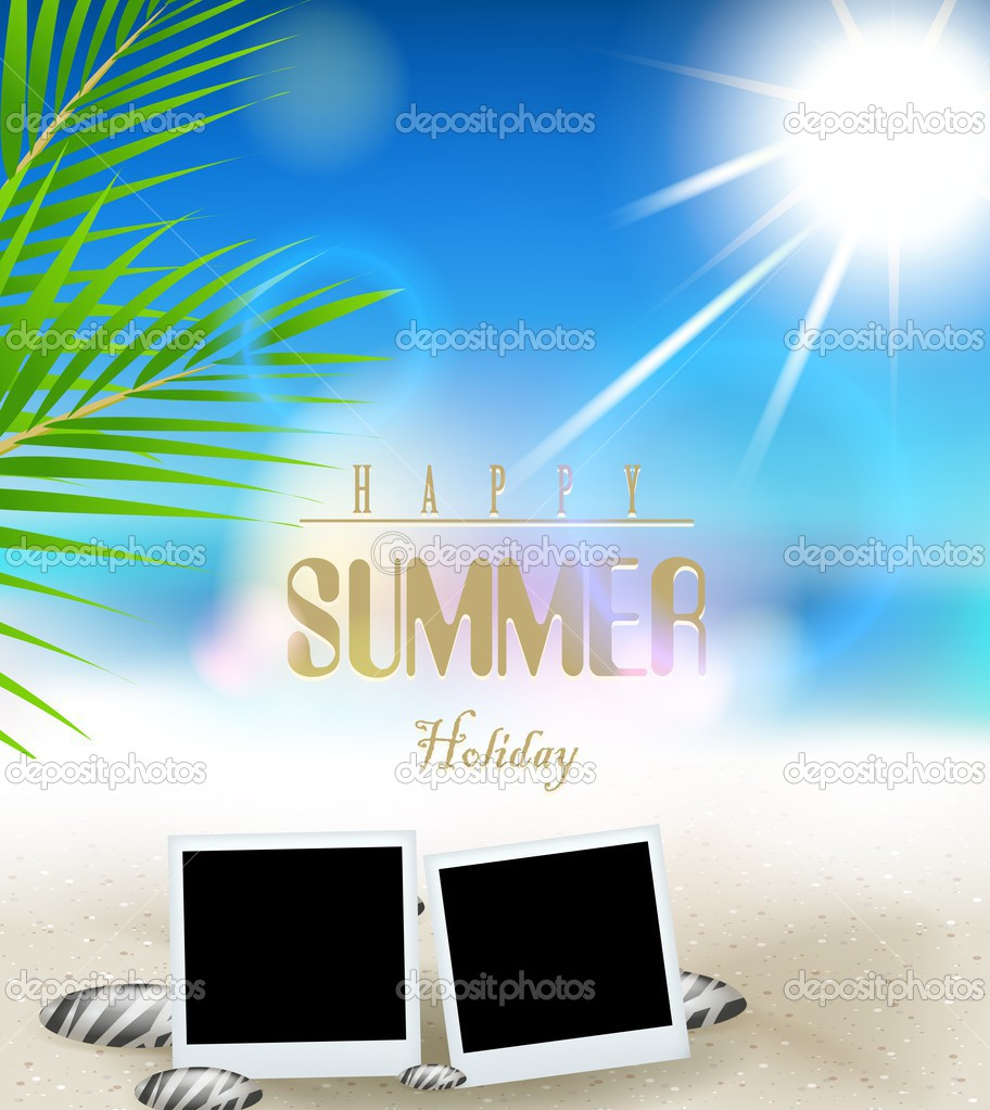 Summer Holidays Vector Background With Frame Film Stock Vector