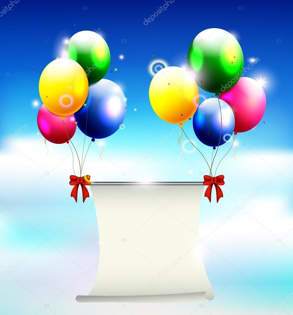 Sfondo di compleanno con palloncino e posto per testo - Immagine con palloncini ...