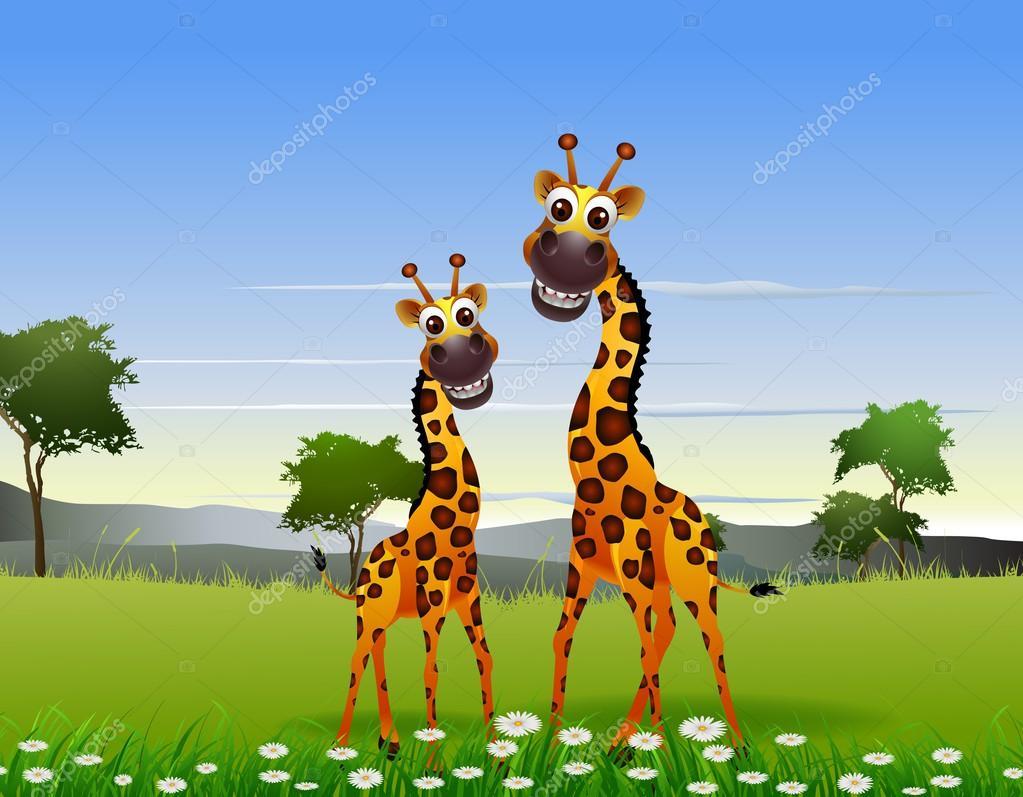 Cute couple giraffe cartoon with landscape background
