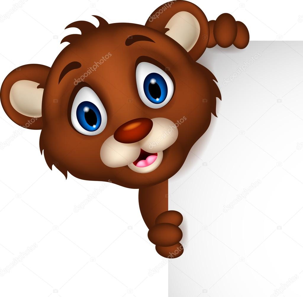 Cartone animato di orso bruno beckam in posa con il segno bianco