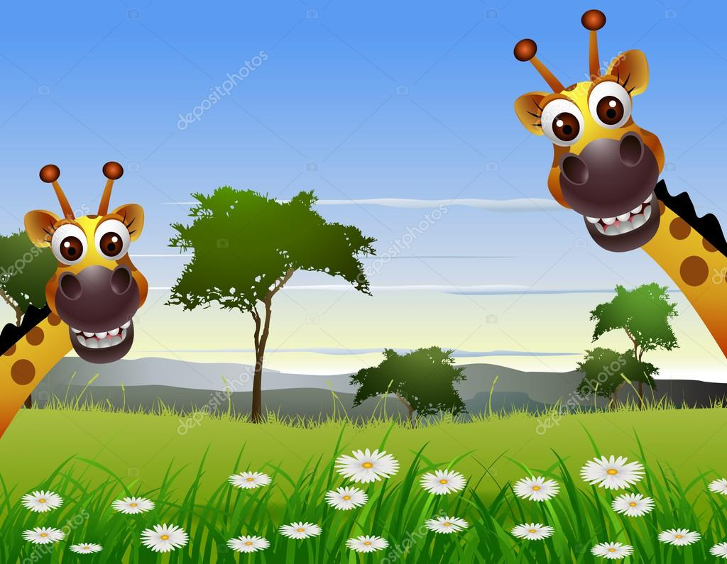 Cute couple giraffe cartoon with landscape background