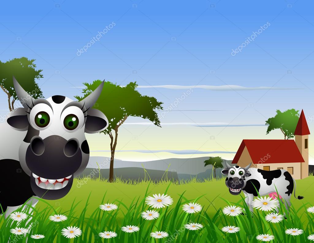 Cartone animato carino mucca con sfondo paesaggio
