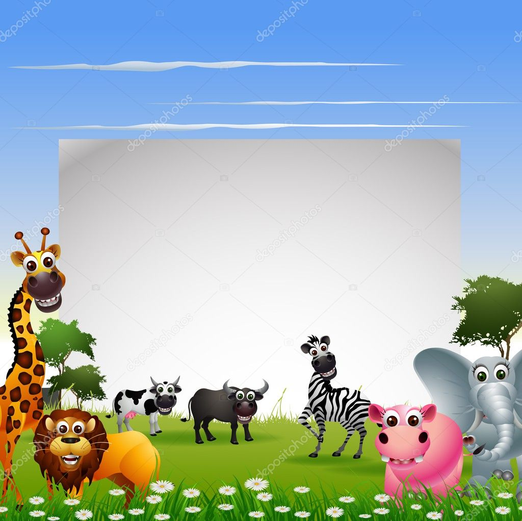 Animal cartoon collection with blank sign and tropical forest background