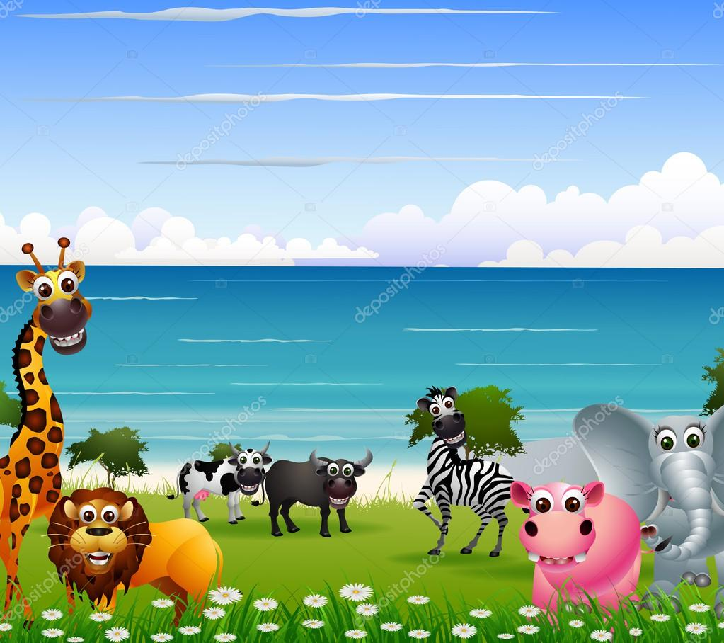 funny animal cartoon collection with beach background