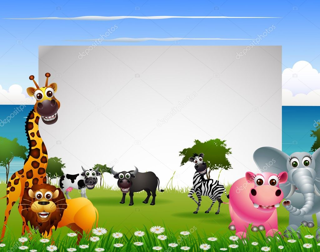 Cute animal cartoon collection with blank sign