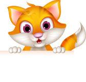 Photo Cat cartoon with blank sign