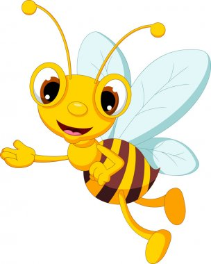 Funny bee cartoon posing