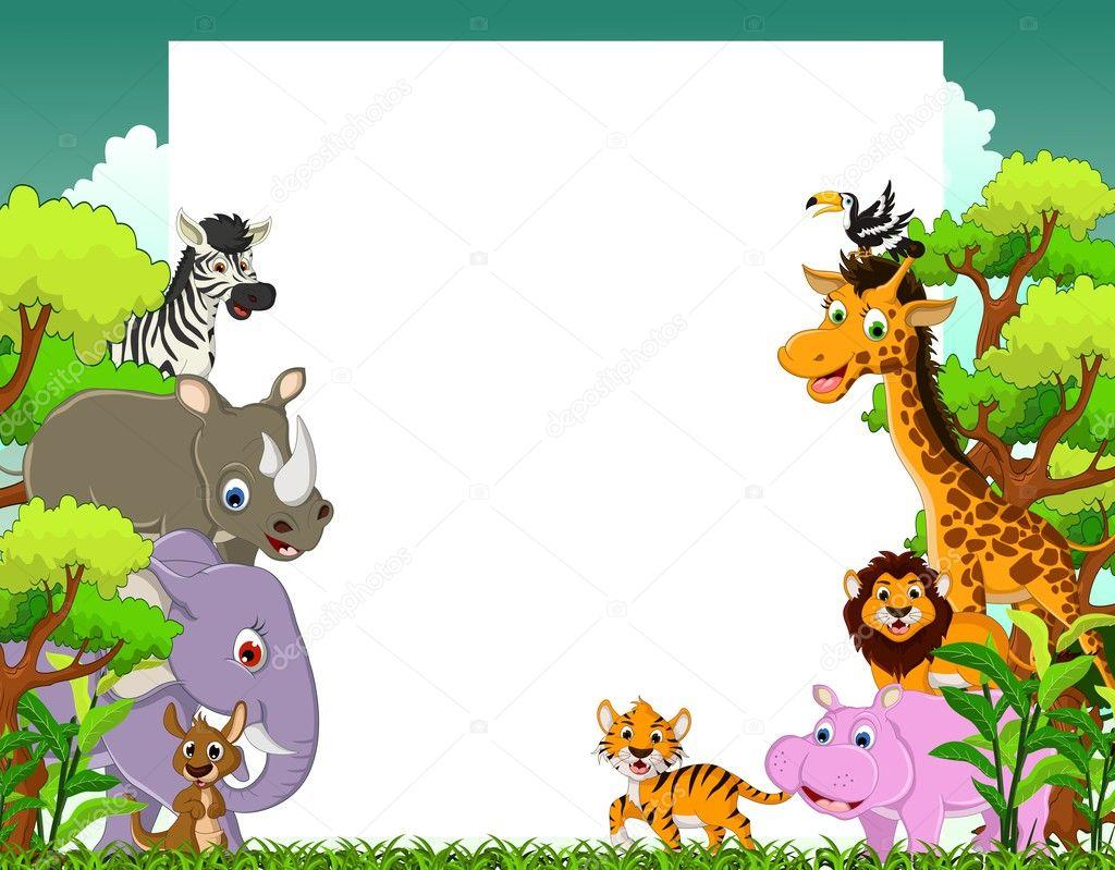 Fondos De Animales Animados: Animales De Dibujos Animados Con Fondo Blanco De La Señal