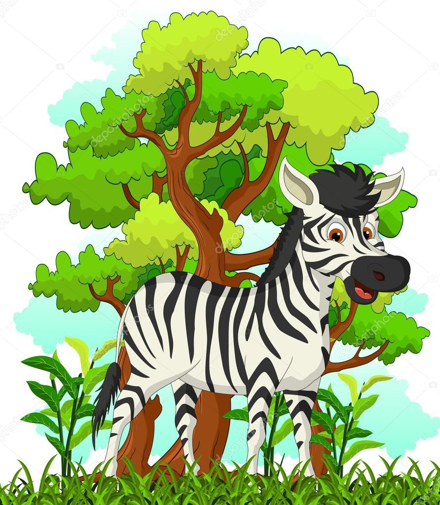 Zebra cartoon with forest background