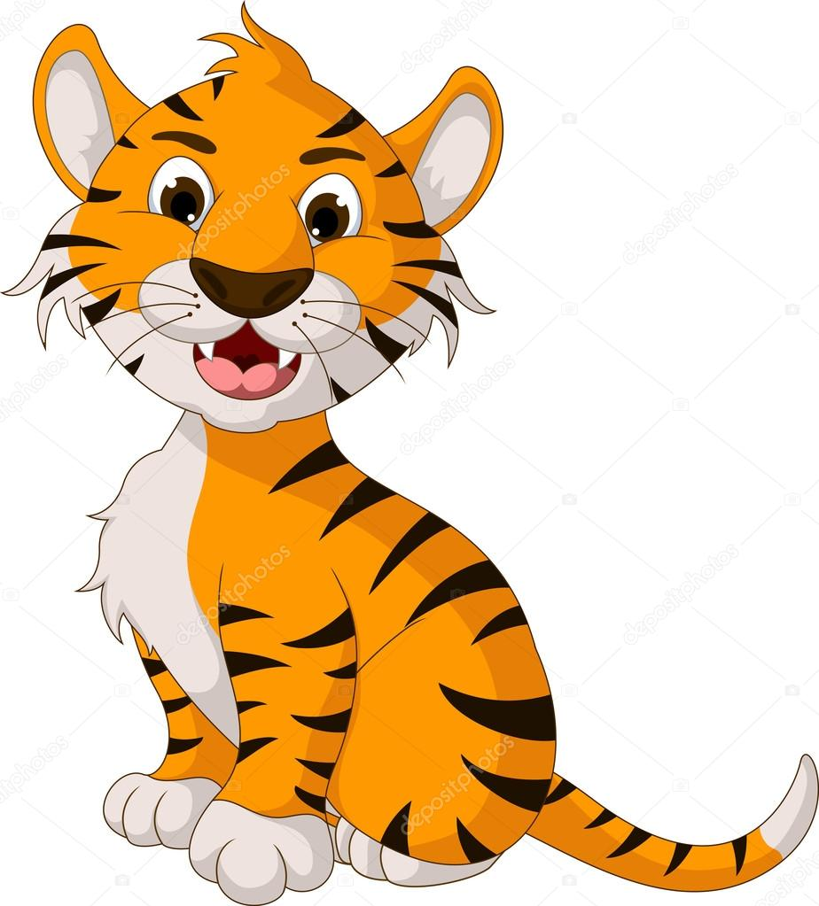 cute tiger cartoon posing u2014 stock vector starlight789 32937579
