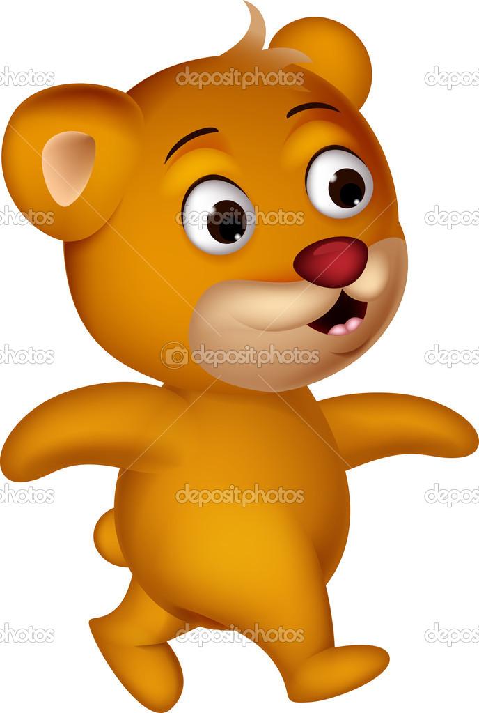 Cartone animato carino orso camminando — vettoriali stock