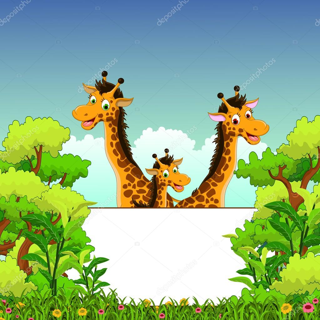 Family of giraffe cartoon with blank sign and forest background