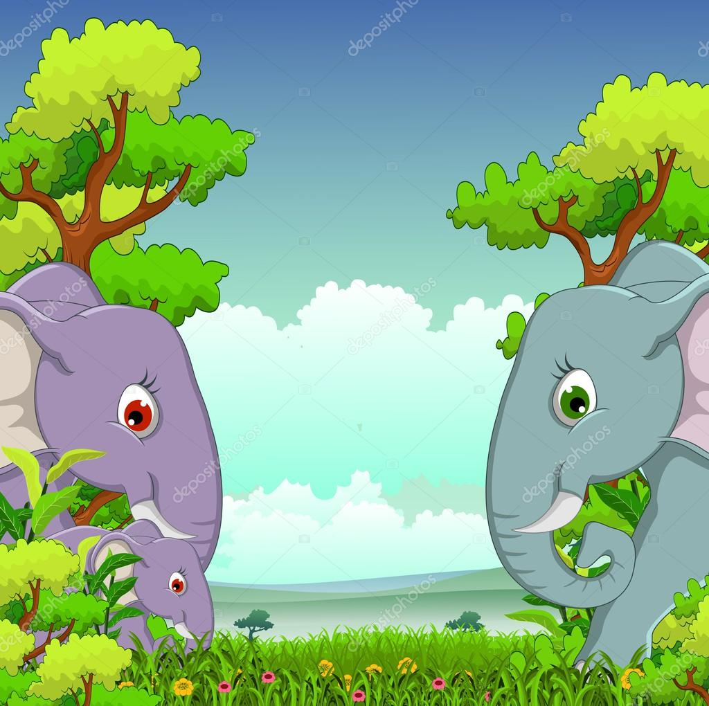 Couple elephant cartoon with forest background