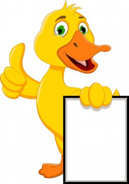 Duck cartoon thumb and holding blank sign