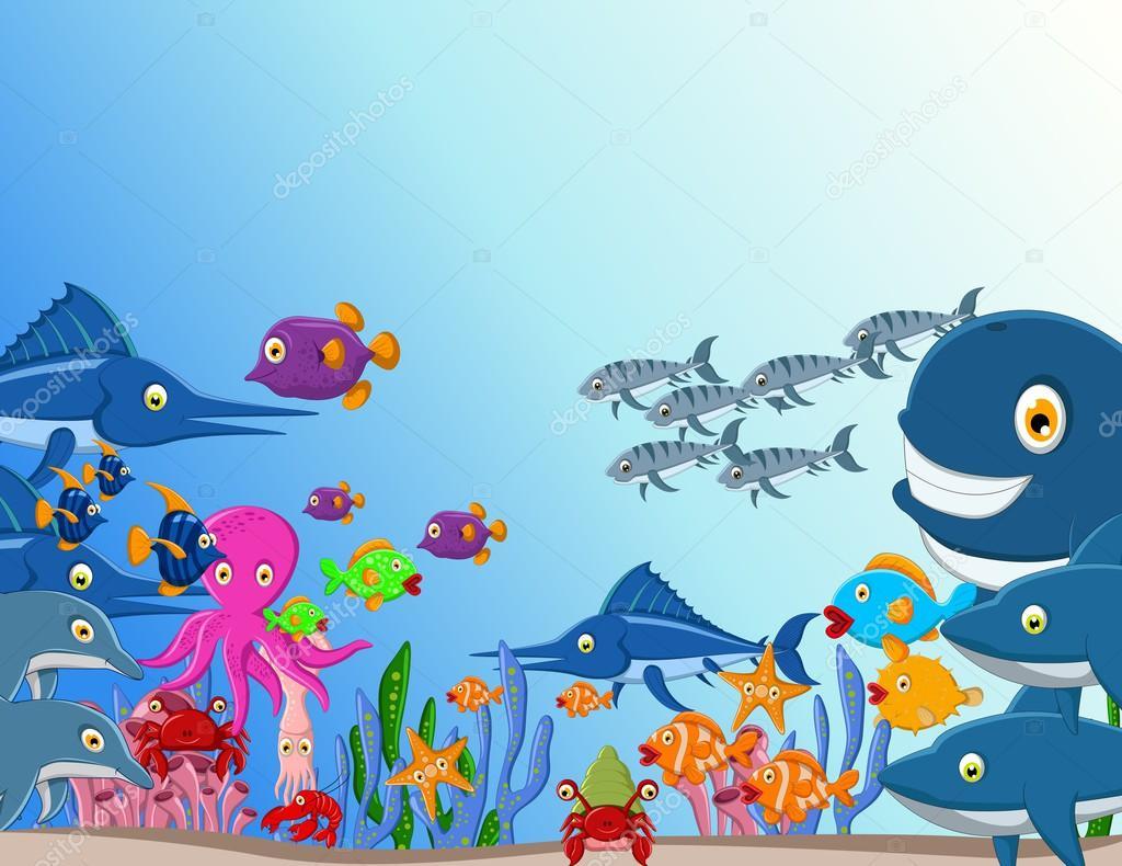 Fundo de desenho animado de vida mar vetor de stock - Cartoni animati mare immagini ...