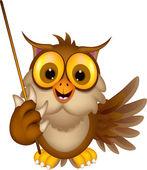 roztomilý sova kreslený drží hůl
