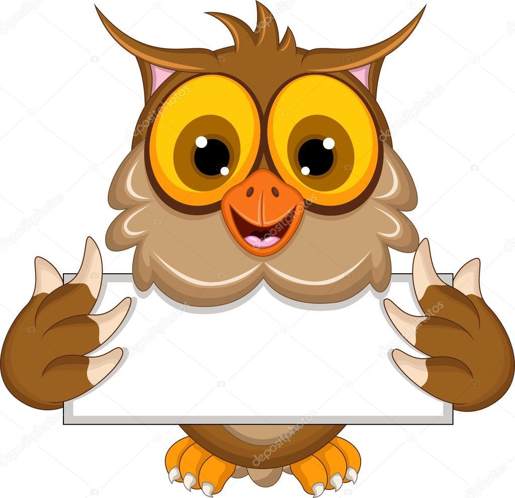 Cute owl cartoon holding blank sign — vettoriali stock