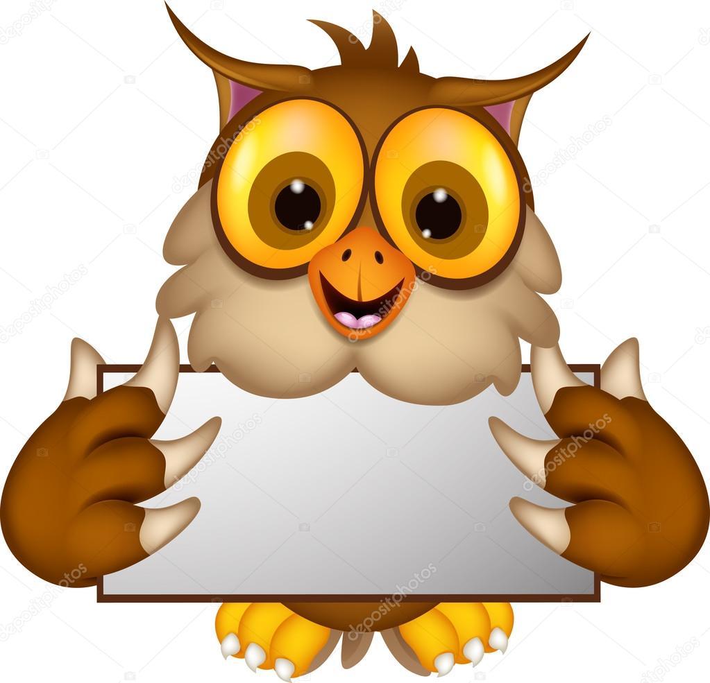 Cute owl cartoon holding blank sign — stock vector