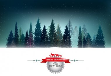 Christmas background with pine forest