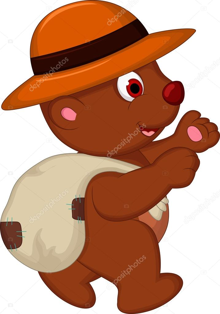 Cartone animato carino orso bruno con cappello a piedi u2014 vettoriali