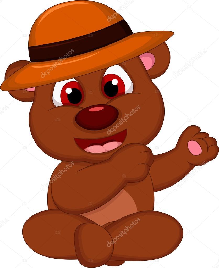 Cartone animato carino orso bruno con cappello in posa u2014 vettoriali