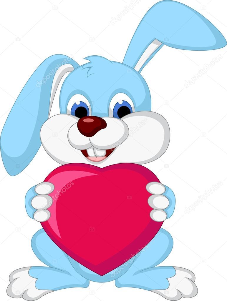 Cartone animato coniglio tenendo cuore amore — vettoriali