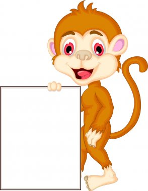 Cute monkey cartoon holding blank sign