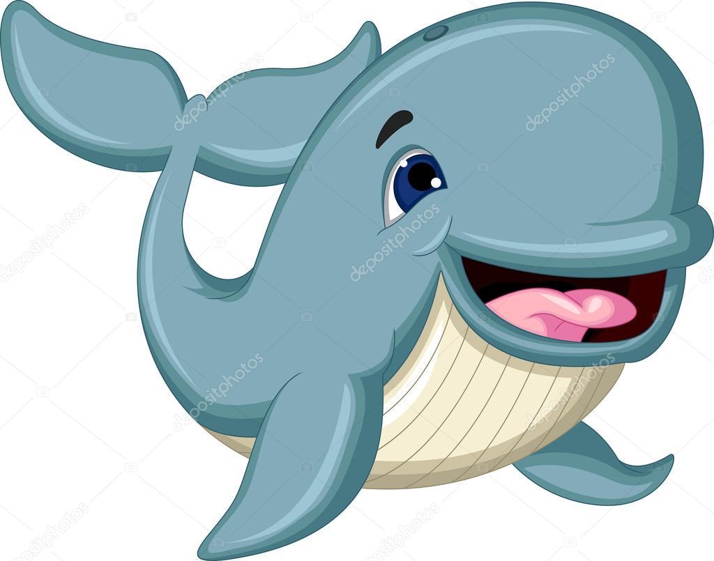 Cartone animato carino balena blu — vettoriali stock