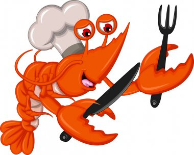 Cartoon Chef shrimp with fork and knife