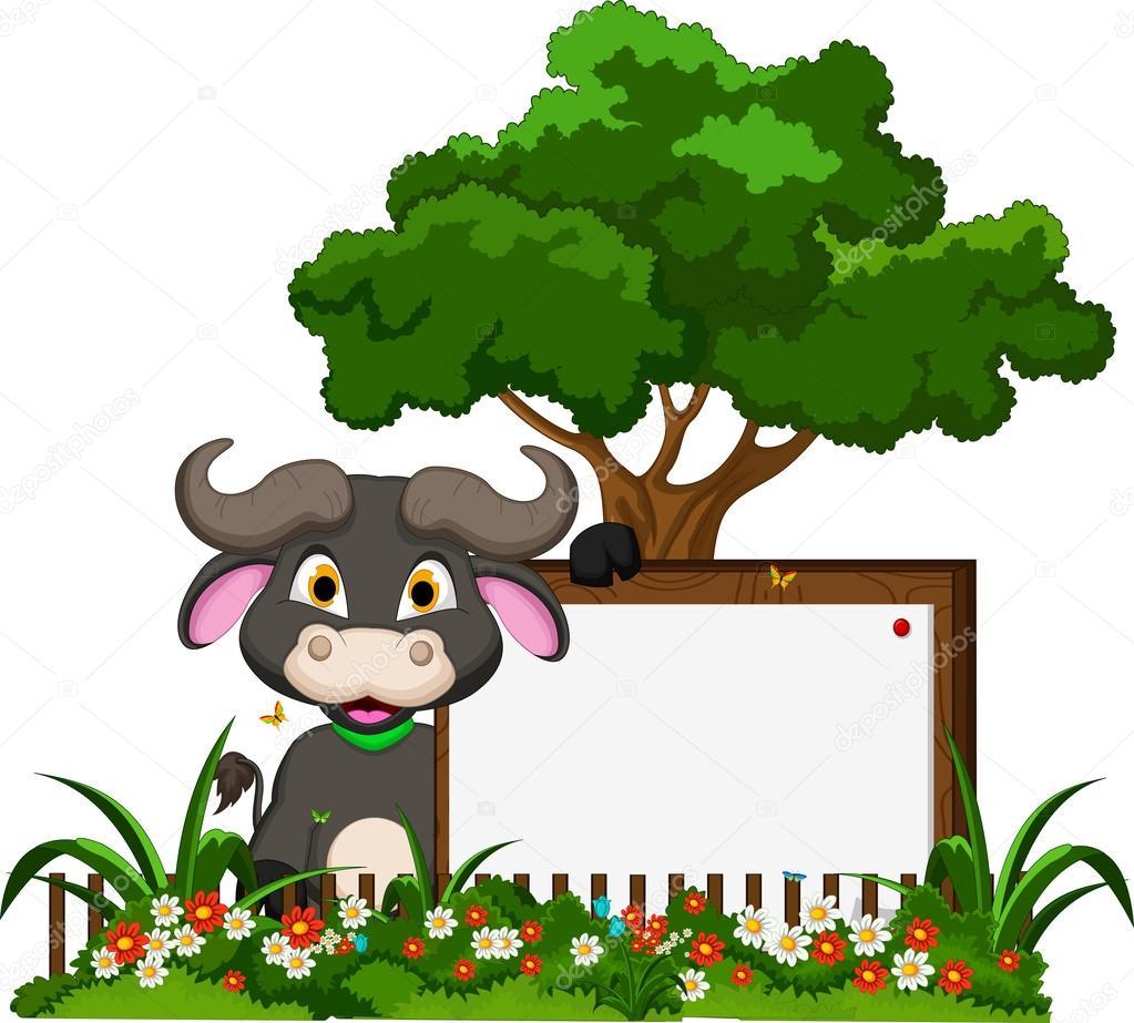 Flower garden cartoon - Buffalo Cartoon With Blank Sign And Flower Garden Stock Vector 46260315